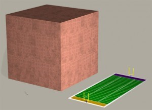 Giant cube of money compared to size of football field